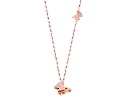 VNOX Rose Oro Plateado Colgante de Mariposa de Acero Inoxidable Acabado Mate Collar para Mujer