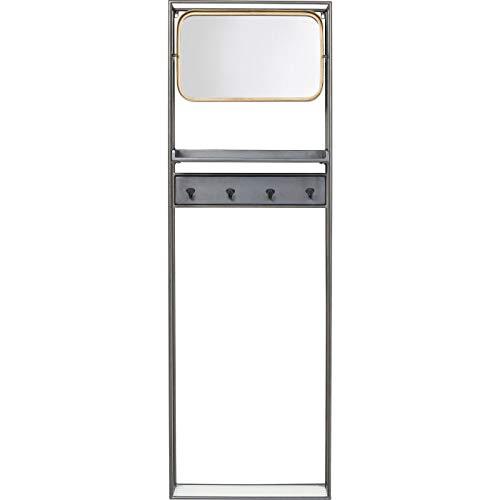Kare Design Garderobe La Gomera, rechteckige Garderobe mit Spiegel und 4 Aufhängungen, dekorative Garderobe in Grau / Gold, (H/B/T) 165x53x15cm