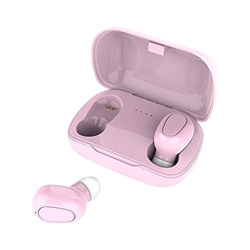 AchidistviQ Auriculares inalámbricos con caja de carga impermeable, Bluetooth 5.0, sonido estéreo de alta fidelidad, 4 horas de reproducción y funda de carga portátil, color rosa