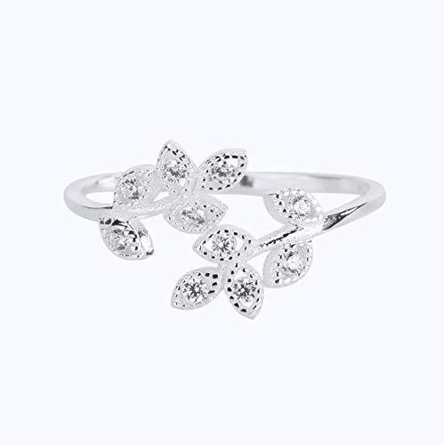 S925 sterling zilveren ring met diamanten blad ring dames creatieve open blad wijsvinger ring geschikt als cadeau voor vrouw