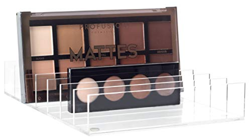 Mantello BPA-Free Acrylic 7-Section Divided Makeup Palette Organizer Holder - Ideal for Adding Storage on Bathroom Counter-Tops - Easy to Clean - 8 in x 5.75 in x 1.5 in - Clear