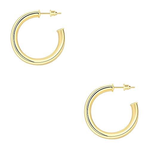 JSJOY Gold Hoop Earrings for Women, 14K Gold Hoop Earrings for Women,Gold Hoops Earrings, Lightweight, 25mm