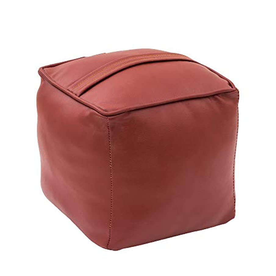 Italian Concept, Pouffe Faux Leather Coated with Wooden Frame, Polyurethane Padding and, Beige, Single