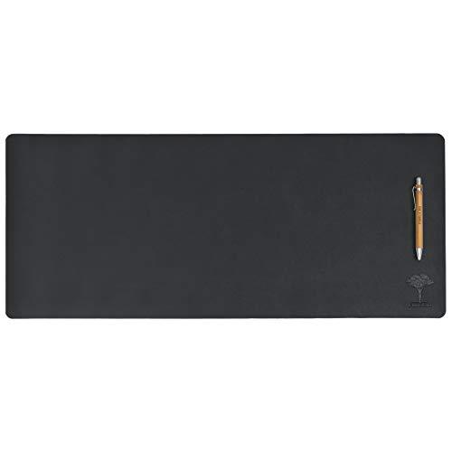 Almohadilla de escritorio de piel de doble cara y bolígrafo de bambú, protector impermeable de escritorio, alfombrilla de escritura multifuncional, alfombrilla de ratón (78,7 x 33 cm), color negro