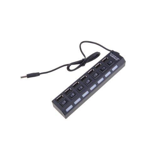 Xiton GEN0001 7-Port USB Hub con Interruttore on/off, Nero