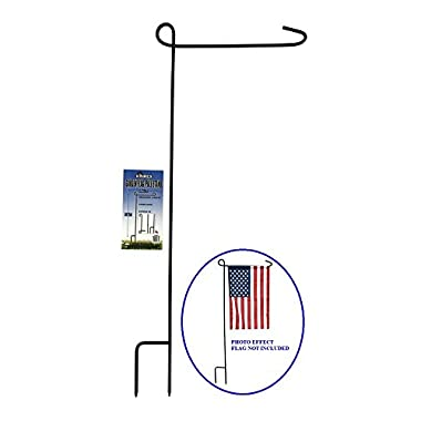 KINREX Garden Flag Stand - Garden Flag Pole - Flag Holder - 35  Tall x 15.5  Wide - Black Metal 3 Piece Set