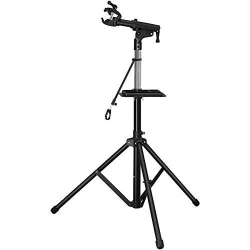 Decopatent PRO Fahrradständer/Montageständer - 360 Grad drehbar und höhenverstellbar + Schnellverschluss- und Lenkerhalterung, große Werkzeugablage - für Rennräder und Mountainbikes