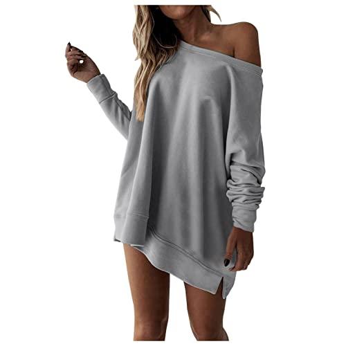 SHOBDW Barato Suéter Mujer Sexy Hombro de Fuga Sólido Slim Fit Pullover Camiseta Manga Larga Sweatshirt Casual Elástico Adolescentes Tops Otoño e Invierno Liquidación Venta(Gris,XL)