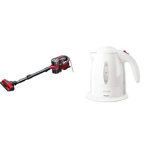 【セット買い】アイリスオーヤマ サイクロン 掃除機 3WAY レッド IC-S55KF-R & アイリスオーヤマ 電気ケトル ホワイト IKE-1001-W セット