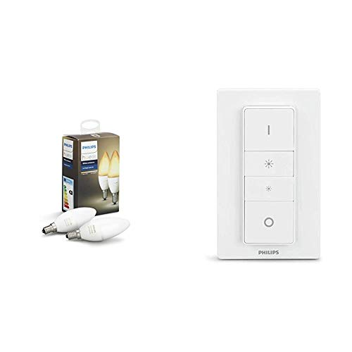 Philips Hue White Ambiance E14 LED Kerze Doppelpack, dimmbar, alle Weißschattierungen,  & Philips Hue Wireless Dimming Schalter, komfortabel dimmen ohne Installation
