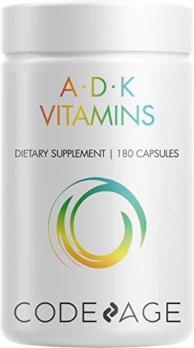 Codeage ADK Vitamin Supplement - 6 Months Supply - Daily Vitamins A D K Pills - Vitamin A, 5000 IU Vitamin D3, Vitamin K1 & K2 (MK7 and MK4) - Non-GMO Multivitamin - 180 Capsules