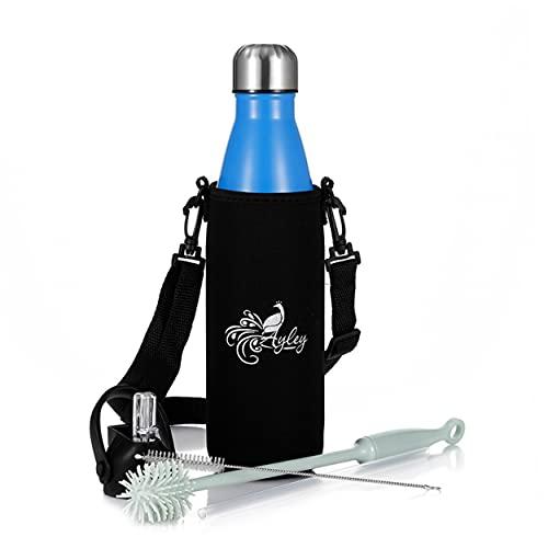 Ayley - Botella isotérmica de 500 ml, sin BPA, 2 tapones intercambiables + bolsa de regalo, para mantener tu bebida a temperatura deseada, termo o café, té o zumo, botella deportiva, reutilizable