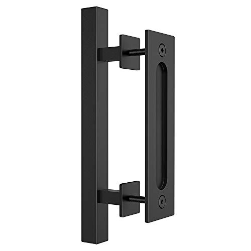 "HomLux Heavy Duty 12"" Pull and Flush Barn Door Handle Set, Ergonomic Modern Design, Classic Round Handle of American Style, Frosted Black Surface Treatment-Square"