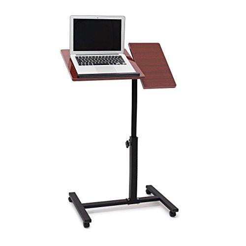Relaxdays Laptoptisch höhenverstellbar, Laptopständer Holz, mit Rollen, drehbar, HxBxT: 95 x 60 x 40,5 cm, rot-braun