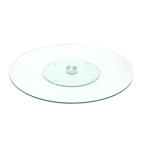 S&D Saveur et Dégustation KA1741 Plateau de table rond tournant Verre et métal acier inoxydable Transparent D45 x H2,5 cm