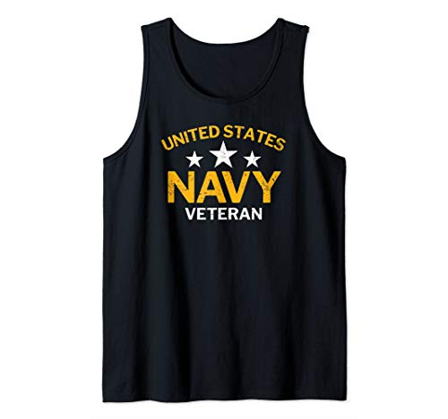 United States Navy Veteran with Stars Distressed Tank Top