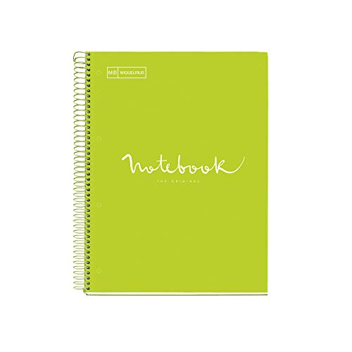 MIQUELRIUS - Cuaderno Notebook Emotions - 1 franja de color, A4, 80 Hojas cuadriculadas 5mm, Papel 90g, 4 Taladros, Cubierta de Cartón Extraduro, Color Lima