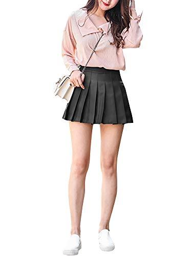 N /C Minifalda delgada plisada con volantes y forro de una línea de una falda corta de mezclilla para la escuela