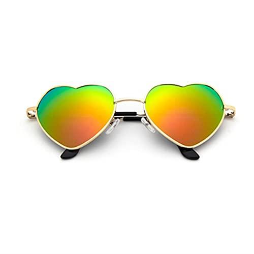RWEAONT Tendencia en Forma de corazón Gafas de Sol de Metal de Mujer de la Marca de la Marca de la Marca Gradiente de Sol de Sol de Las Gafas de Sol Rojas Lentes Transparentes Sombras oculos