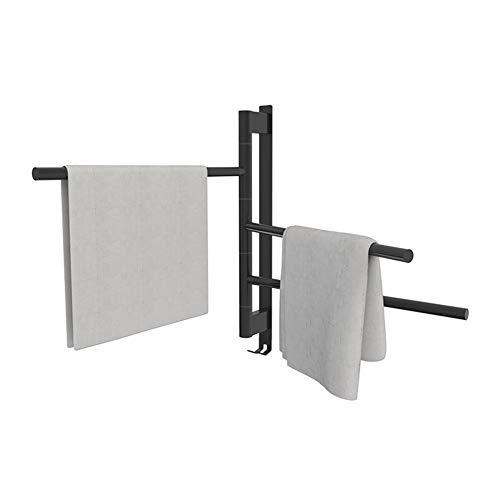 MTX-Racks Handdoekradiator roterende elektrische handdoekhouder, zonder gaten te maken, badkamer zwart, 304 roestvrij stalen badkamerradiator modern design