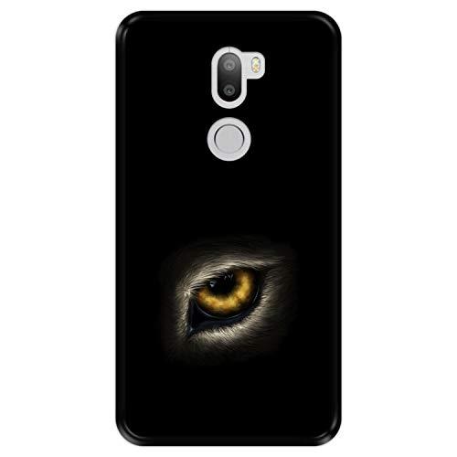 Hapdey Funda Negra para [ Xiaomi Mi5s Plus - Mi 5s Plus ] diseño [ Ojo de Lobo, mirándote ] Carcasa Silicona Flexible TPU