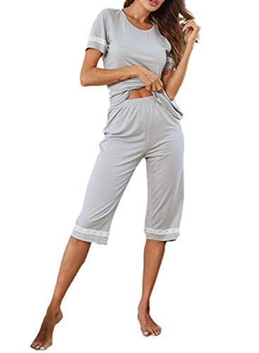 CORAFRITZ Conjunto de pijama de 2 piezas para mujer, cuello redondo, manga corta, encaje, cómodo, ropa de dormir suave