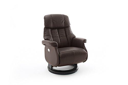 Robas Lund Sessel Leder Relaxsessel elektrisch bis 150 Kg TV Sessel, Relaxer Fernsehsessel Echtleder braun, Calgary Comfort XL