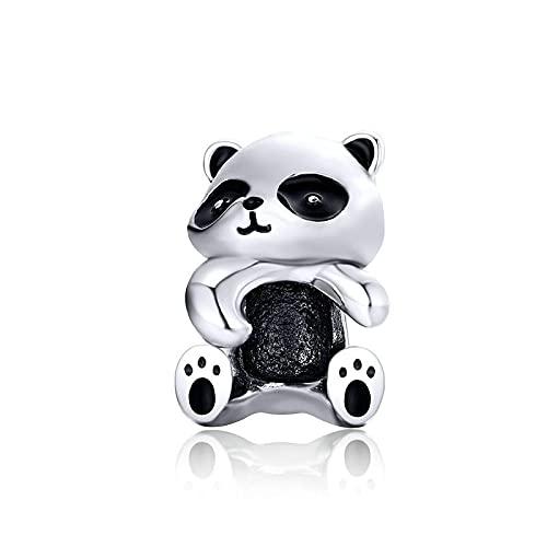 LIJIAN DIY 925 Sterling Jewelry Charm Beads Panda Hug Metal Animal Make Original Pandora Collares Pulseras Y Tobilleras Regalos para Mujeres