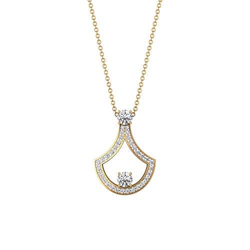 0,37 ct Pave IGI zertifizierter Diamant Antik Anhänger Halskette, runde IJ-SI Diamantkette Charm-Anhänger, Frauen Geburtstag verstellbar Anhänger Geschenke für Sie, 18K Gelbes Gold