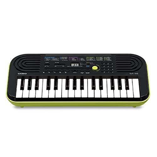 Casio SA-46 Mini Tastiera Elettronica, 32 Tasti, Altoparlanti Integrati, Nero e Verde