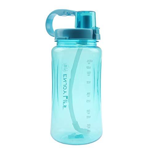 Fastdisk Botella de Agua de Gran Capacidad 2L, Boca Ancha portátil, Gran plástico watera verfugas Taza Espacial, Tazas de Viaje Gratis BPA con Escala, Paja, Correa para Deportes al Aire Libre