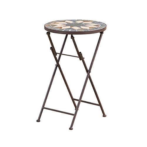 Christopher Knight Home Silvester Outdoor Stone Side Table with Iron Frame, Beige / Black