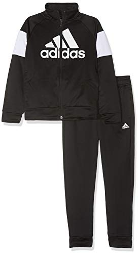 adidas Jungen Badge of Sport Trainingsanzug, Top:Black Bottom:Black/White, 152