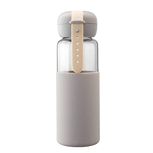 N-B Fashionable Portable Glass Water Bottle For Children Cute Drinking Water Bottle With Silicone Protective Cover