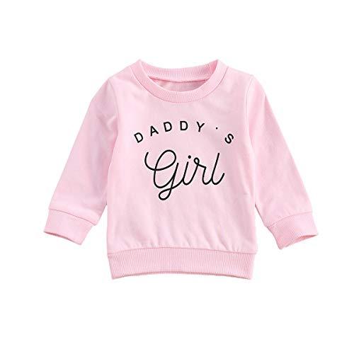 Eghunooye Sweatshirt Pullover Baby Mädchen Daddy Girls Print Langarm Sweater Top Kleinkind Kinder Baby Mädchen Herbst Kleidung Oberteil (Rosa, 18-24Monate)