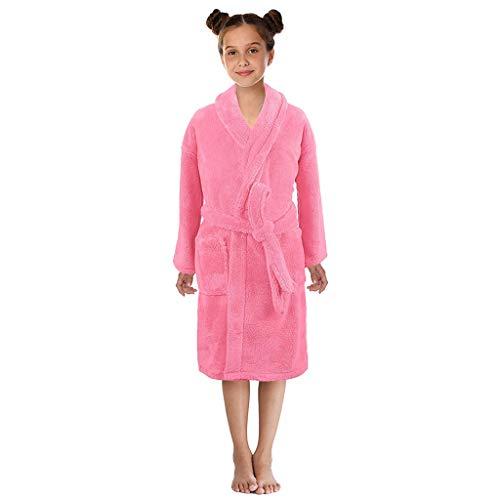 KEERADS Peignoir pour Enfants Petit Garçon Fille avec Capuche 100% Coton Robe de Chambre Serviette Doux Éponge de Coton 7-13 Ans (Medium,Rose)