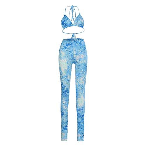 Conjunto de yoga sexy para mujer, moda estampada, traje deportivo para mujer, sujetador y leggings, juego para yoga, baile, fitness, gimnasio, ropa deportiva, azul, L