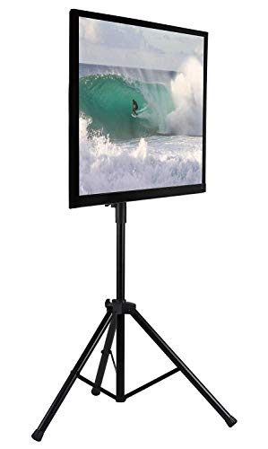 Mount-It! TV Tripod Floor Stand | Portable Tilting TV Stand for 32-70 Inch Flat Screen Displays, Quick Assemble, Height Adjustable, Pole Supports 77 Lbs, Up to VESA 600x400