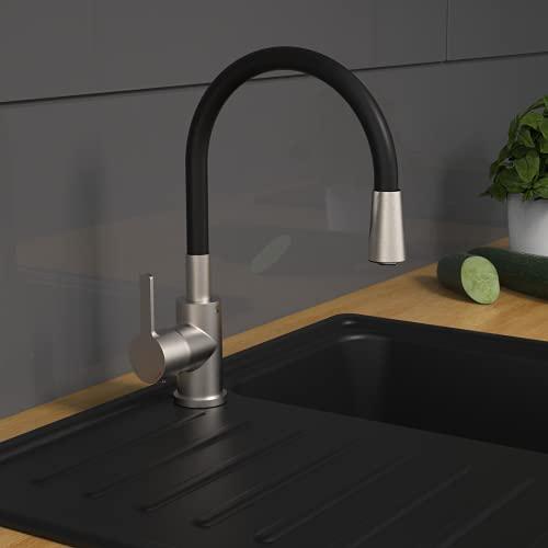 EISL Flexo Edelstahl/Schwarz Flexible Spültischarmatur, biegsamer Wasserhahn für die Küche, hoher Auslauf mit Soft-Touch-Schlauch, 360 Grad schwenkbar, mit Wassersparfunktion, NI186FLNIB