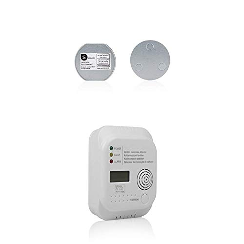 Smartwares RMAG60 Magnetbefestigungsset für Rauchmelder, 6cm Durchmesser, Silber, 6 cm + Flamingo FA370 Kohlenmonoxidmelder – Sensor mit 7 Jahren Lebensdauer