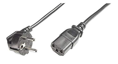 PremiumCord Netzkabel 230V 5m, Stromkabel mit Schutzkontakt gewinkelt auf Kaltgerätebuchse C13, IEC 320, PC Netzkabel 3 Polig, Farbe schwarz