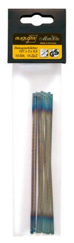 Augusta Dekupiersäge-Ersatzblätter 10 Stück 127 x 3 x 0,5 mm für Holz und Kunststoff, 0735 127x3x0,5 AMA