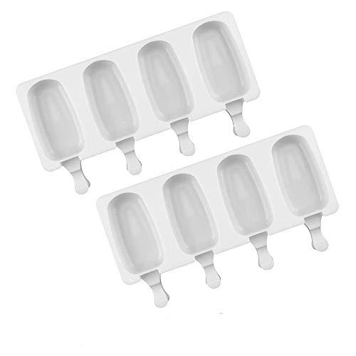 Moldes de silicona para helado, en forma ovalada, 4cavidades con 100palos de madera, juego de 2