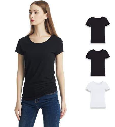 KELOYI Camisetas Mujer Basica Blusas Mujer Verano Cuello Redondo Manga Corta Ropa Mujer Verano 2021 Justada Negro Blanco Pack de 3 M