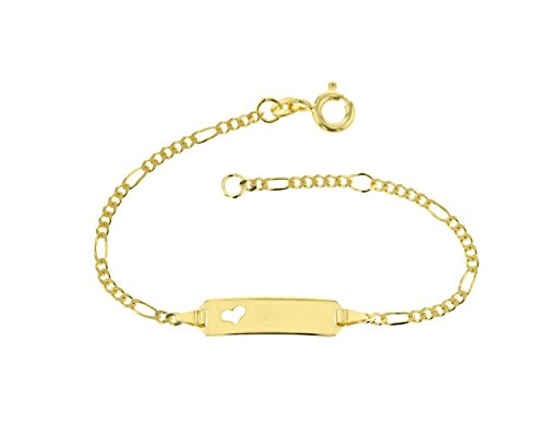 JC Trauringe 333 Goud Baby ID Armband Kinderen Goud Armband 14 cm I Figaro armband met hartje met gravure Christening Armband Goud Naam Armband I Kinderjuwelen gemaakt in Duitsland I 5.53052HERZ