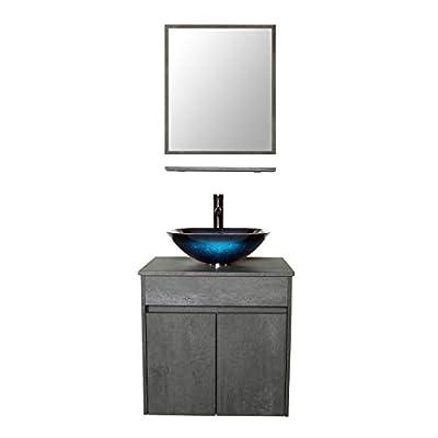 LUCKWIND Bathroom Vanity Vessel Sink Combo – Wall Mount Mirror Artistic Glass Vessel Sink Faucet Drain ORB Single Cabinet Shelf Storage Shelf Suite 2 Doors Top MDF-Eco Wooden Modern Grey Rectangular