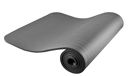 MALATEC Gymnastikmatte Yogamatte trainingsmatte Fitnessmatte mit SchultertragegurtNBR Schaum181x61,5x1cm Färbe:Blau/Grau/Schwarz 7864, Farbe:Grau