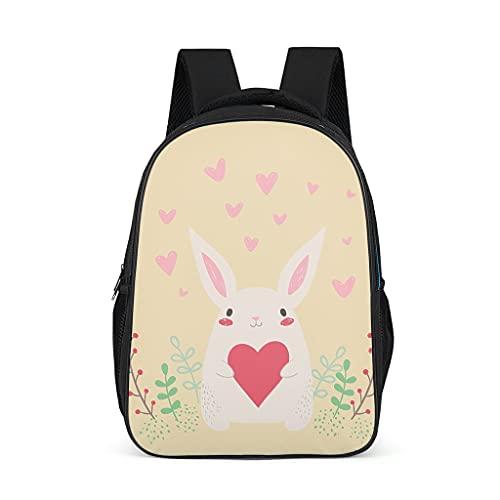 Mochila de dibujos animados lindo conejo forma de corazón patrón Bookbag impermeable Daypack portátil bolsa para niños niñas, color, talla Talla única
