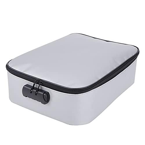 Bolsa de Documentos Ignífuga,Organizador de la bolsa de dinero a prueba agua gran capacidad de fibra de vidrio código seguro,37x27x10cm File comprimido Caja segura para la joyería de oficina
