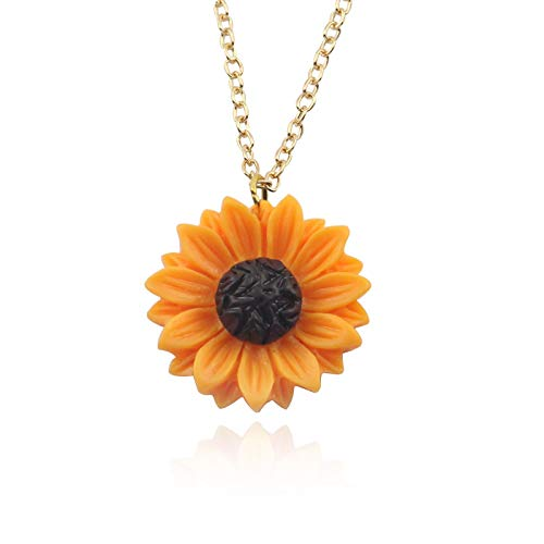 ZYLL Nuevo Colgante de Girasol de Resina, Collar de Flores de Sol y Perlas de imitación, pequeñas Flores de Margarita, Colgantes con dijes, Regalo para Mujer, Accesorio